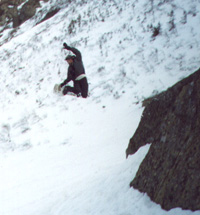 Nick taking huge air off a rock jump at Tuckerman's Ravine, NH